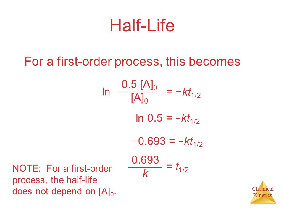 Half-Life For a first-order process, this becomes 0.5 [A]0 [A]0 ln